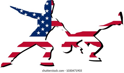 Mascot for sport dance sport with athlete in front of United States flag with national colors background