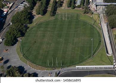 Mascot, Sydney/ Australia - 21st June 2019: Aerial view of AFL field in Australia