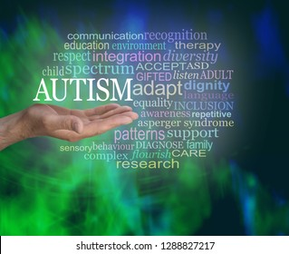 Masculine Autism Spectrum Word Tag Cloud - male hand with open palm up with the word AUTISM floating above surrounded by a relevant word cloud on a modern abstract green black background