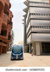 Masdar City, Abu Dhabi, UAE - July, 2019. Sustainable eco city has launched driverless electric vehicles. Shuttle can transport up to 12 people at a time and has a top speed of 25 km per hour.
