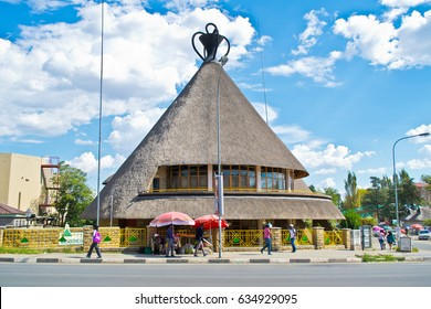 Maseru, Lesotho - January 26, 2017: The iconic hat shaped building overlooks Maseru, the capital of Lesotho. Lesotho is known as the Kingdom in the Sky because of its lofty altitude.