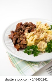 Mashed Potatoes with Skins and Ground Beef with Fresh Parsley for Lunch or Dinner