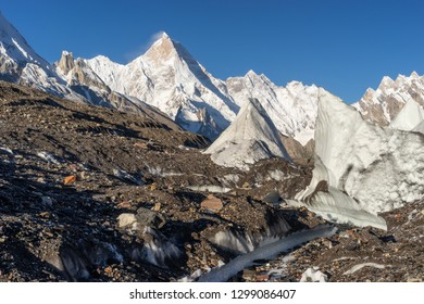 Masherbrum mountain peak or K1 in Karakoram mountain range, K2 base camp trek in Pakistan, Asia