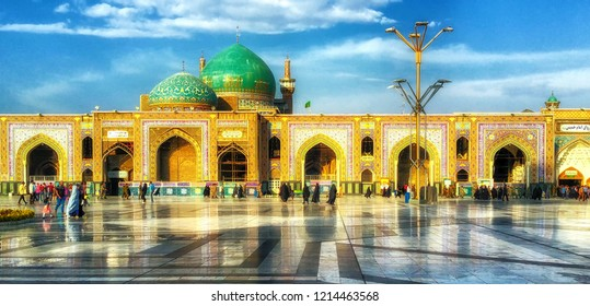 Mashhad, Iran - October 04, 2015: Holy Shrine of Imam Reza in Mashhad. The mausoleum of Imam Reza is the largest mosque in the world by dimension.