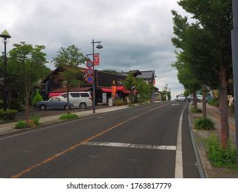 Mashiko Tochigi,Japan-Jul08,2019:pottery shop town scape street