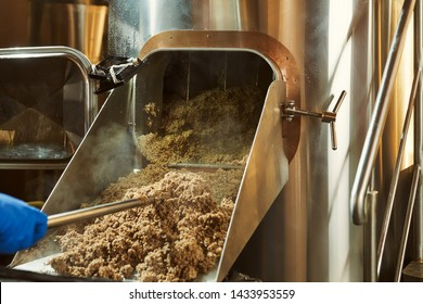 Mashing of milled malt grains for preparing malt. Process of brewing grain of barley.
