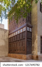 Mashrabiya facade of El Sehemy house, an old Ottoman era historic house in El Moez Street, Cairo, Egypt, originally built in 1648