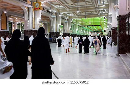 MASJID AL- HARAM, MAKKAH, SAUDI ARABIA - FEBRUARY 10, 2017: Group of Muslim worshipers is doing the saie starting from Safa to Marwah mountain, as one of the umrah and hajj process.