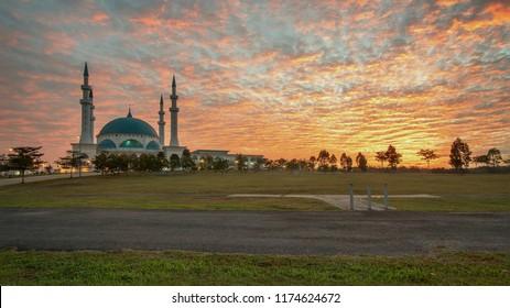 Masjid Sultan Iskandar, Bandar Dato' Onn Johor Bahru, Johor, Malaysia. The photo showing sunrise moment at newly built mosque at Bandar Dato Onn, Johor Bahru.