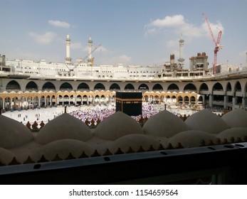MASJIDIL HARAM, MECCA - NOVEMBER, 2017: The Kaaba in the center of Masjidil Haram.