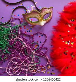 Mask, beads and confetti festival. Carnival. Mardi gras. Brazilian carnival. Spring