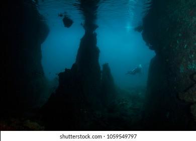 Mask Cave in the Ceram sea, Raja Ampat, West Papua, Indonesia