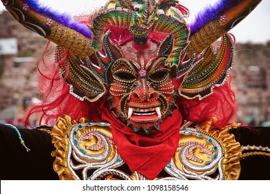 Mask of Dancing devil festivity of the Candelaria, Puno.