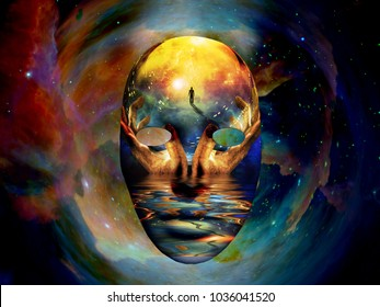 Mask with the image of man, hands of a prayer and seashore. Colorful universe on background. 3D rendering