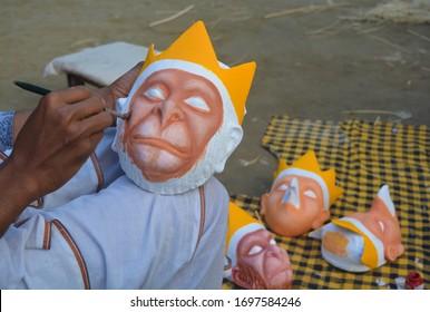 Mask making at Chamaguri Sattra in Majuli.