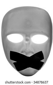 mask with masking tape on it's mouth, isolated on white with clipping path