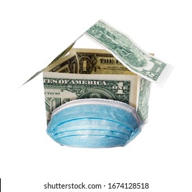 Mask Medical virus protection, Hospital quarantine house made of money isolated on white background. Covid-19 Air pollution concept of the epidemic of the virus