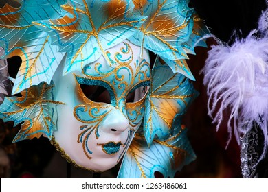 Mask on display at a souvenir shop in the street of Venice, Italy. Masks have always been an important feature of the famous Venetian carnival.