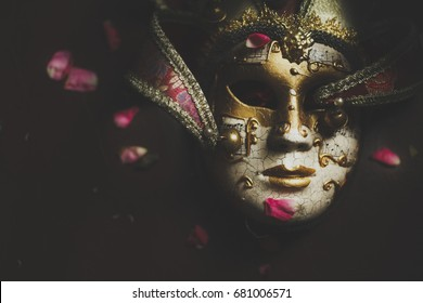 The mask of opera with rose petals. venice canival mask.