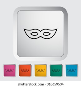 Mask. Outline icon on the button.  illustration.