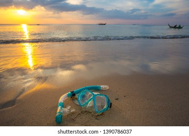 mask and snorkel diving on the beach