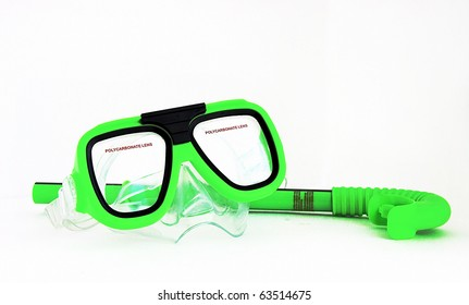 Mask and snorkel isolated on white background