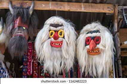 Mask Souvenirs at Bran Castle, also known as The Castle of Dracula, in Bran, Brasov, Transylvania, Romania