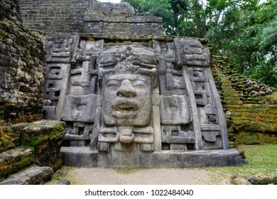 The Mask Temple, Mayan city of Lamanai, Belize.