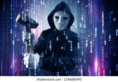 Masked and armed anonymous hacker breaking in cyber security cloud data concept