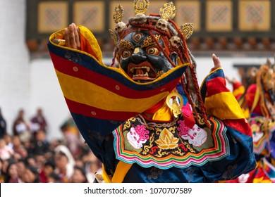 Masked dance in  Tsechu festival   Thimphu Dzong, Bhutan
