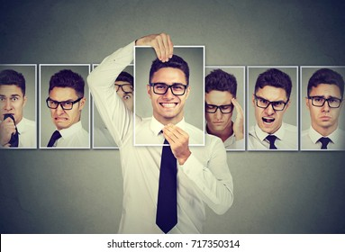 Masked man in glasses expressing different emotions