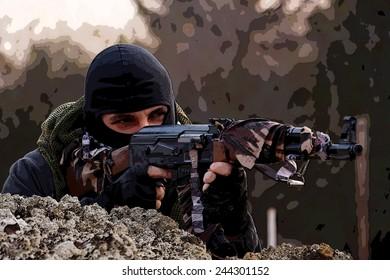 Masked man with a gun.