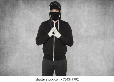 masked man is very calm
