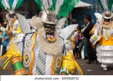 masked People at traditional carnival in La Paz - Bolivia