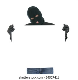 Masked thief - Your message here - isolated over the white background