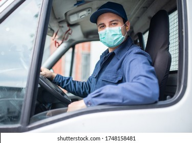 Masked van or truck driver on the road