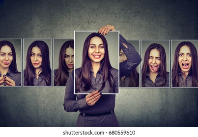 Masked woman expressing different emotions