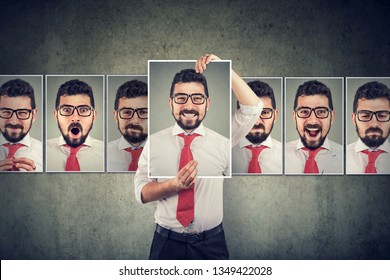 Masked young man expressing different emotions