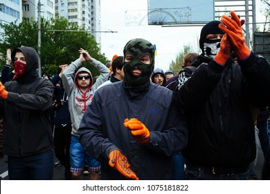 Masked young people defending a pro Maidan rally against the violence of separatist rebel.Donetsk (UA) 2014/Apr/28