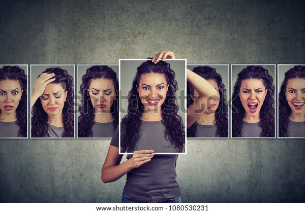 Masked young woman expressing different emotions
