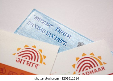 Maski,Karnataka/India - 10/13/2018: Aadhaar card and pan card which are issued by Government of India as an identity card