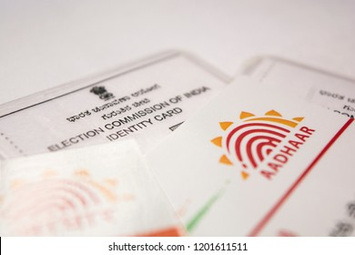 Maski,Karnataka/India - 10/13/2018: Aadhaar card which is issued by Government of India as an identity card during voting times.