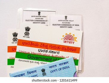 Maski,Karnataka/India - 10/13/2018: Aadhaar card,Voter id , Pan card which are issued by Government of India as an identity card