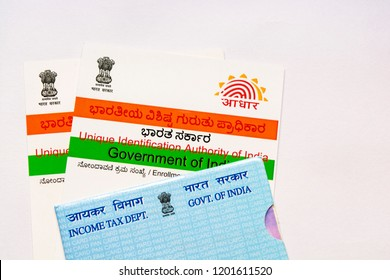 Maski,Karnataka/India - 10/13/2018: Aadhar card and pan card which are issued by Government of India as an identity card