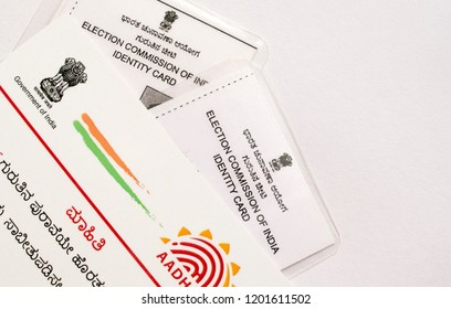 Maski,Karnataka/India - 10/13/2018: Aadhar card which is issued by Government of India as an identity card during voting times.