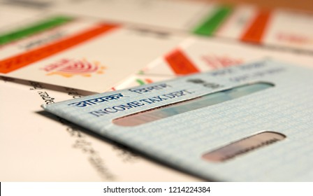 Maski,Karnataka/India - 9/27/2018: Aadhaar card and pan card which are issued by Government of India as an identity card