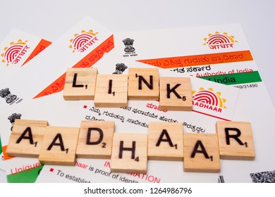 Maski,Karnataka,India - DECEMBER 22,2018: Aadhaar card which is issued by Government of India as an identity card