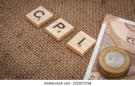 Maski,Karnataka,India - FEBRUARY 24,2019: Concept of CPI Consumer Price Index word with Indian currency
