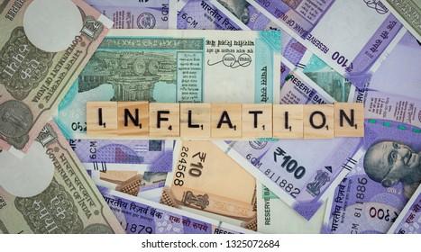 Maski,Karnataka,India - FEBRUARY 24,2019: Concept of Inflation word on Indian currency Notes.