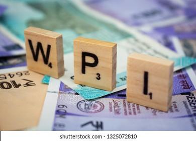 Maski,Karnataka,India - FEBRUARY 24,2019: Concept of WPI Wholesale Price Index word on Indian currency.